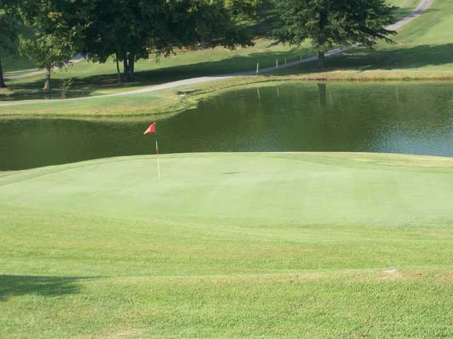 A view of green with water coming into play at Western Hills Golf Course
