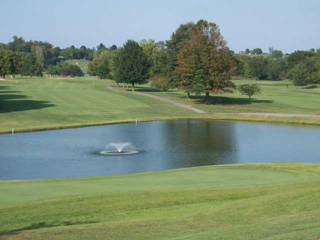 A view of fairway with water fountain in foreground at Western Hills Golf Course