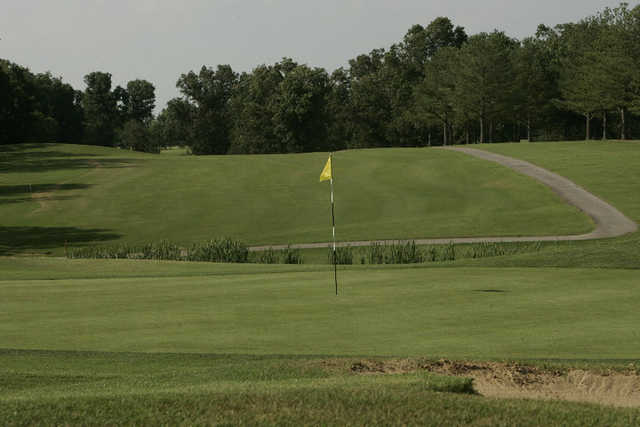 A view of a hole with undulating path in background at Frances E. Miller Memorial Golf Course