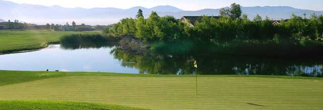 A view of a green with water coming into play at Hemet Golf Club