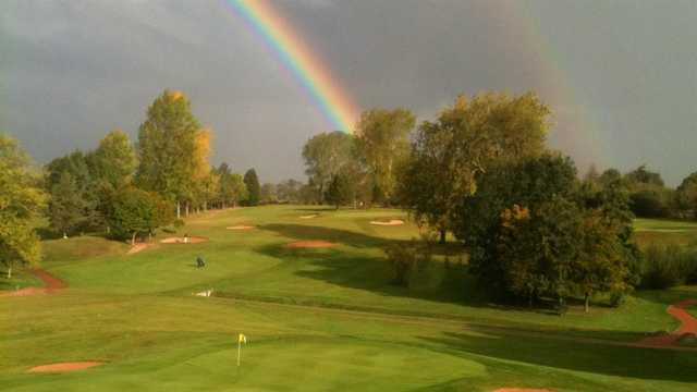 A view of rainbow over Vicars Cross Golf Club