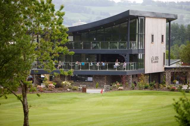 View of the clubhouse at Carus Green from the fairway