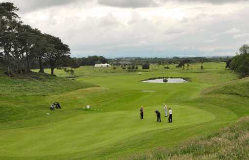 A view of the 4th hole at Hadrians Course from Eden Golf Club