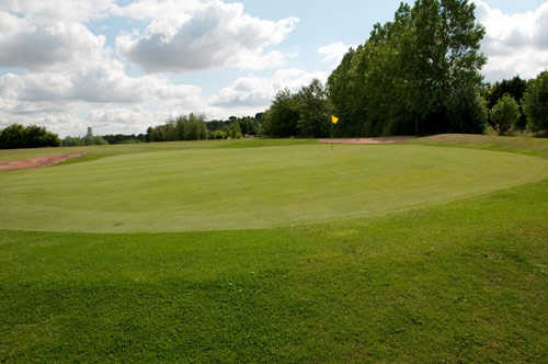A view of green #14 at Priory Course from Breedon Priory Golf Centre