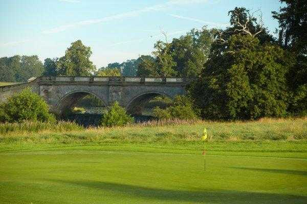 A view of hole #5 with bridge in background at Kedleston Park Golf Club