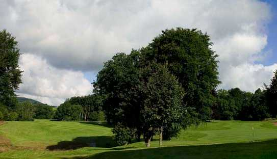 A view of the 13th green and 11th tee at Bovey Castle