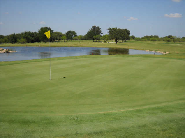 A view of the 15th green at Hideout Golf Club