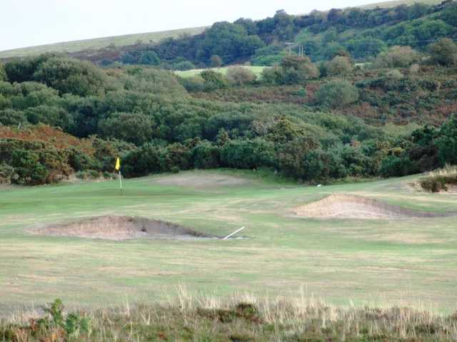 A view of the 15th green at Purbeck Course from Isle of Purbeck Golf Club