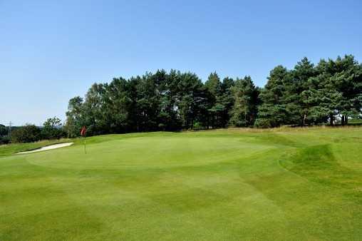 A view of the 3rd green at Knighton Heath Golf Club