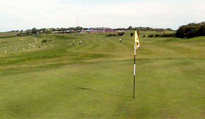 A view of the 1st hole at Dyke Golf Club