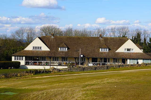 A view of the clubhouse at Cleeve Hill Golf Club