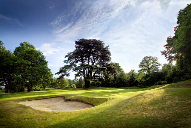 A view of green #14 guarded by bunker at Addington Palace Golf Club