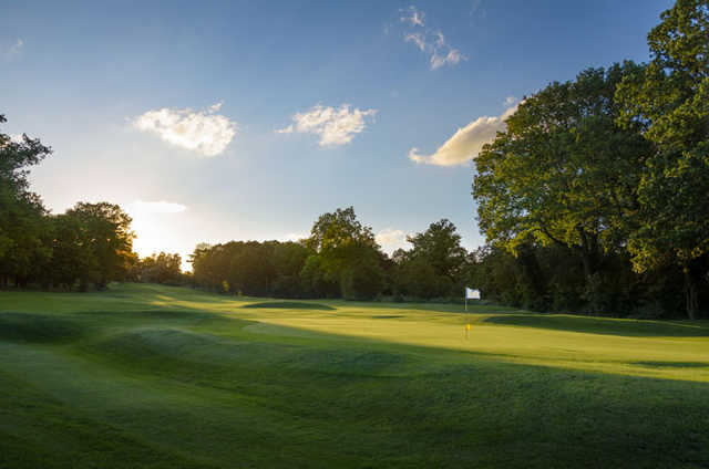 A view of the 1st green at Finchley Golf Club