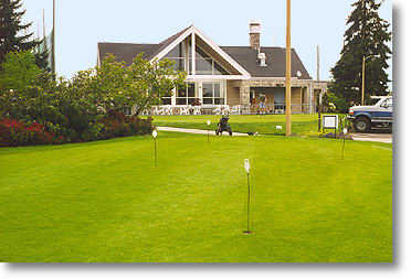 Two putting greens are available. One is directly in front of the clubhouse and the other is across the sidewalk. Both are well maintained and provide good practice for the course greens.