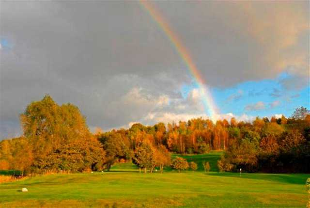 A view of rainbow over the 9th hole at Brookdale Golf Club