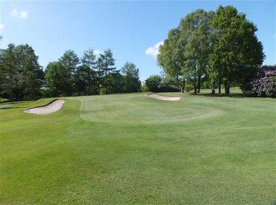 A view of hole #2 flanked by bunkers at Greenmount Golf Club