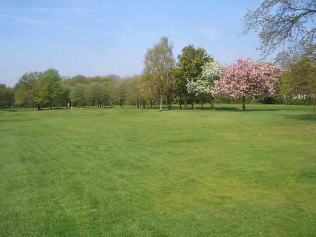 A spring view from fairway #4 at Heaton Moor Golf Club