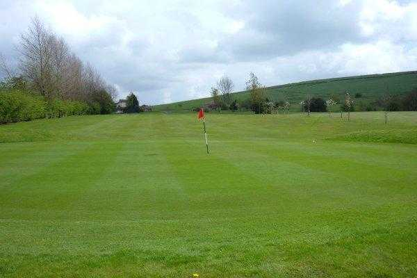 A view of the 1st green at Oldham Golf Club
