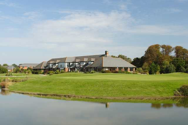 A view of the clubhouse at Cams Hall Estate Golf Club.