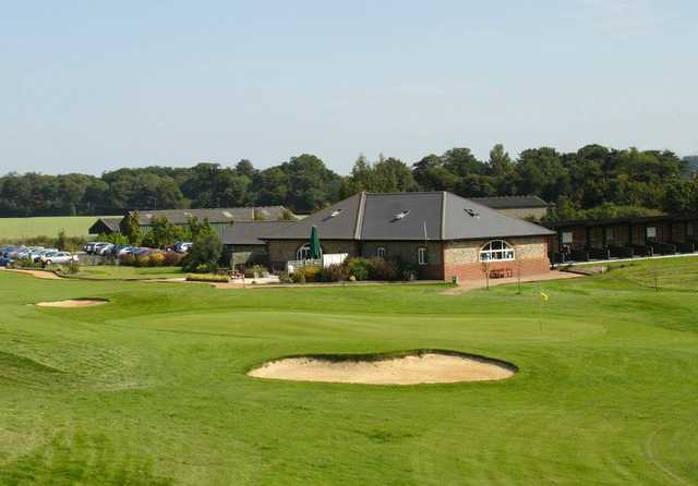 A view of green #9 and clubhouse in background at Wickham Park Golf Club