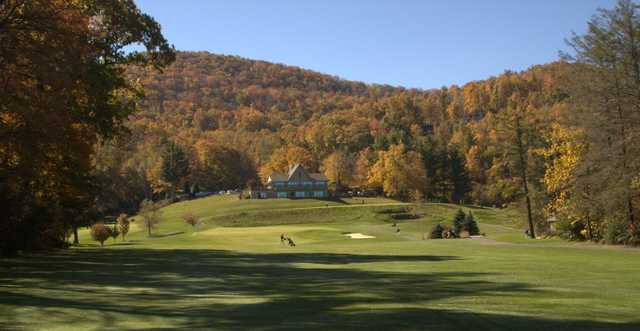 A beautiful autumn view of the course and clubhouse at Boone Golf Club