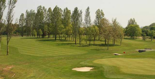 A great view of the 18th green from the balcony at Radlett Park Golf Club