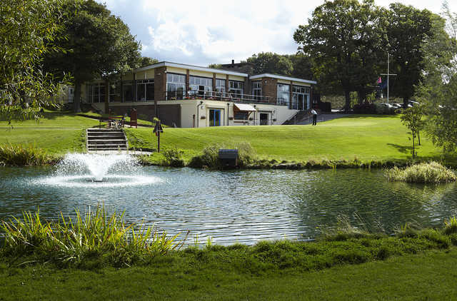 A view of the clubhouse at Cherry Lodge Golf Club