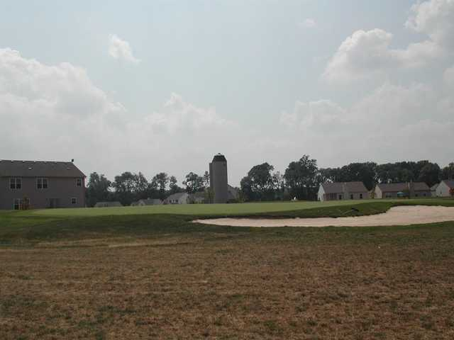View of a green from the Central course at Fox Prairie Golf Club