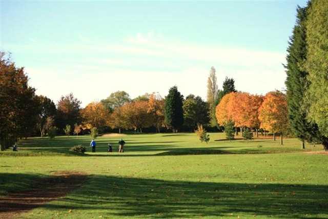 Autumnal view down a fairway at Gillingham Golf Club