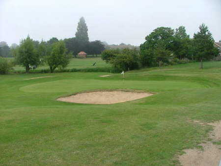 A view of hole #6 guarded by sand traps at St Augustines Golf Club