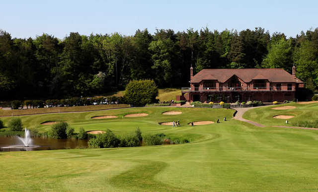 A view of the 18th green and clubhouse in background at Westerham Golf Club