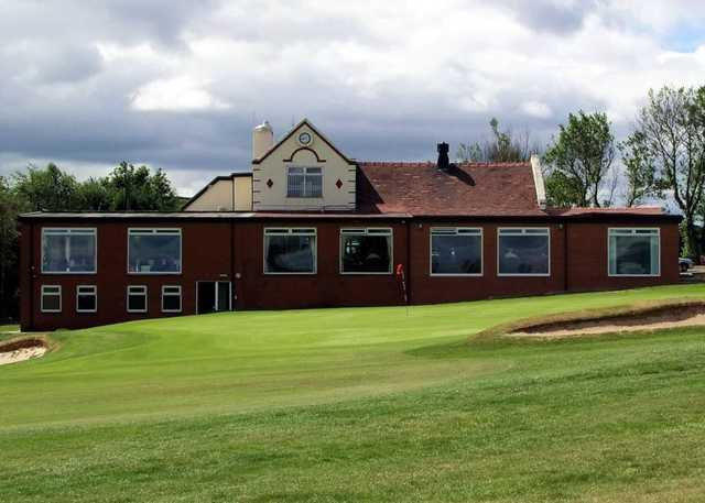 18th hole and the clubhouse at Accrington & District Golf Club