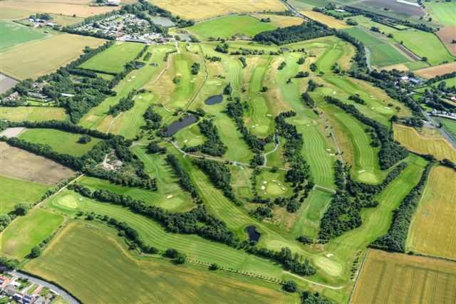 Aerial view of Hurlston Hall Golf Club