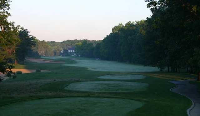 View of the 1st tees and fairway at Sandy Pines Golf Club