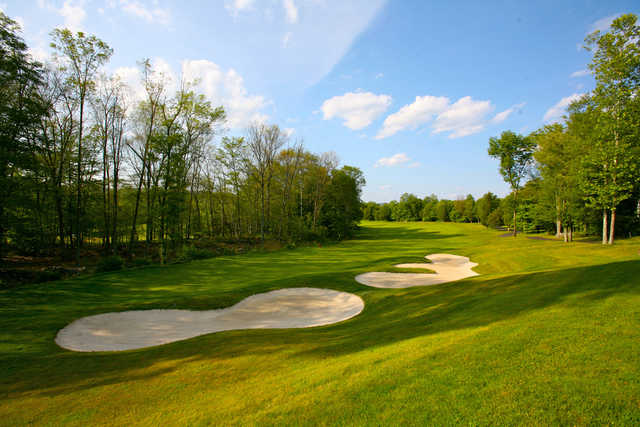View of a green and bunkers from Great Bear Golf Club