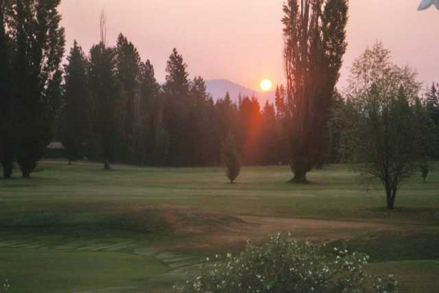 Sunset view of a green at Ranch Club Golf Course