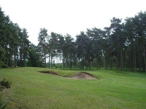 A view of the 10th hole protected by bunker at Market Rasen Golf Club