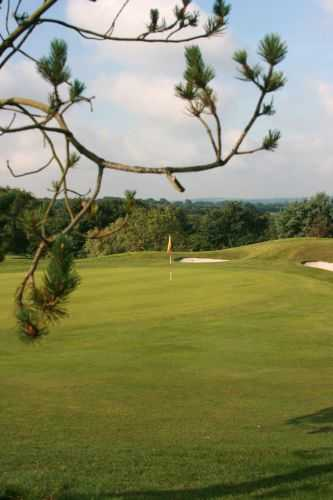 A view of a green guarded by bunkers at Bowood Park Hotel & Golf Club