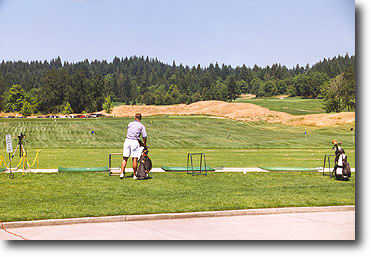 The driving range is open and off of mats only. Range balls are complimentary!