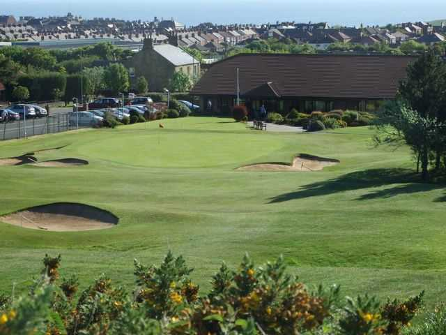 The clubhouse overlooking the 18th green at Saltburn-by-the-Sea