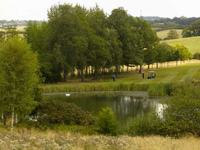 A view over the pond from Hellidon Lakes Golf & Spa Hotel