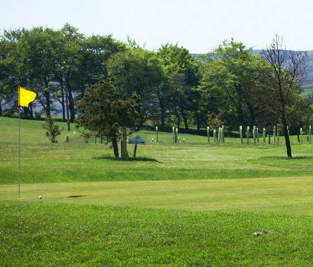 A sunny view of a hole at Allendale Golf Club