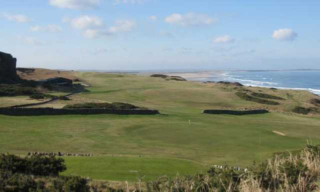 A view from the back tee #3 at Bamburgh Castle Golf Club
