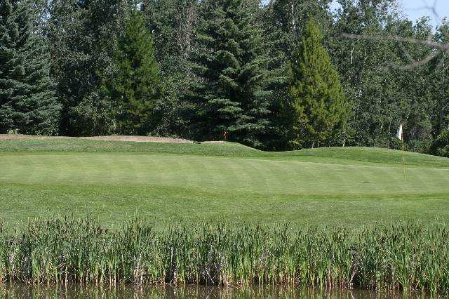 A view of green #4 at Lacombe Golf and Country Club