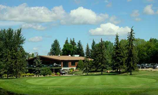 A view of the clubhouse and green #18 at Leduc Golf and Country Club