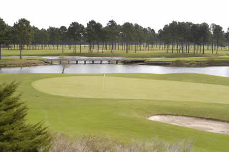 A view of a green with water coming into play at Wizard Golf Course.