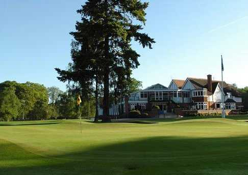 A view of the clubhouse at Frilford Heath Golf Club