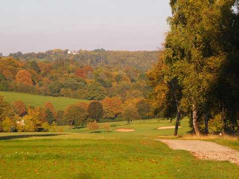An autumn view from the 17th tee at Henley Golf Club