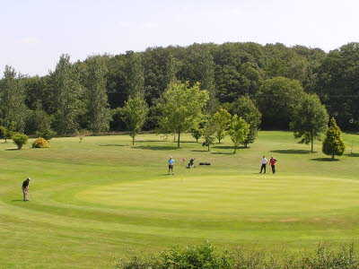 A view of green #11 at Arscott Golf Club