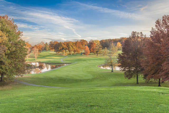 A fall view of a fairway at A. J. Jolly Golf Course